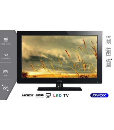 "NVOX Telewizor LED 21.5"" FULL HD z USB HDMI VGA DVB-T MPEG-4/2 12V    230V"