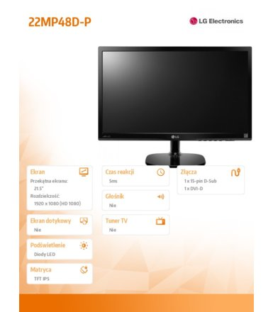 "LG Electronics 21.5"" 22MP48D IPS DVI-D/D-sub"
