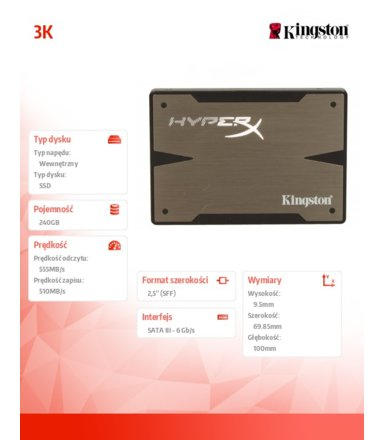 "Kingston HyperX 3K SERIES 240GB SATA3 2,5""+adapter 3,5"" 555/510MB/s 9,5mm"