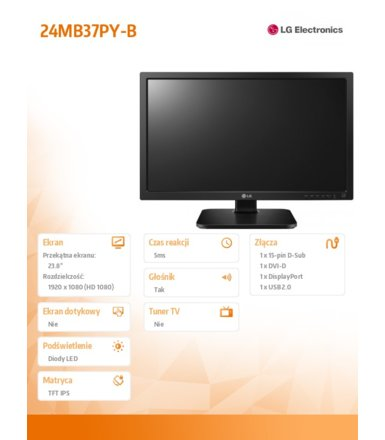 LG Electronics 23.8'' 24MB37PY-B  LED IPS D-sub/DVI/DP/USB