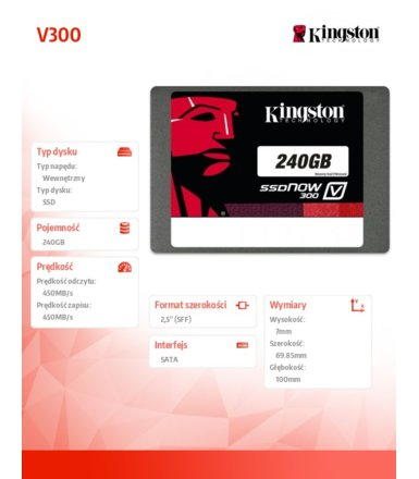 "Kingston V300 SERIES 240GB SATA3 2,5"" 450/450MB/s 7mm"