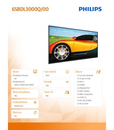 Philips 65' 65BDL3000Q LED VA Public Display
