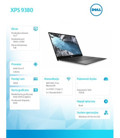 Dell Notebook XPS 9380 Win10Pro i7-8565U/512GB/16GB/Intel UHD/13.3 UHD/Touch/KB-Backlit/52WHR/Silver/3Y NBD