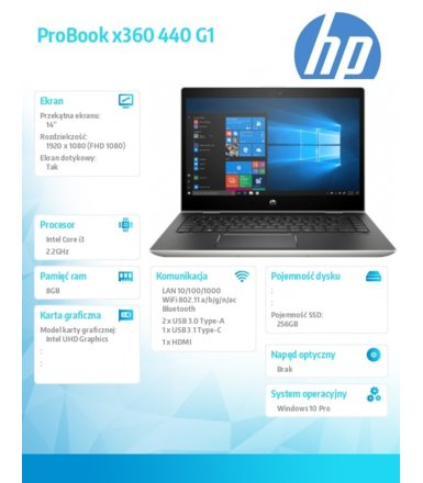 HP Inc. Notebook ProBook x360 440 G1 i3-8130U 256/8G/14 W10P  4QW74EA