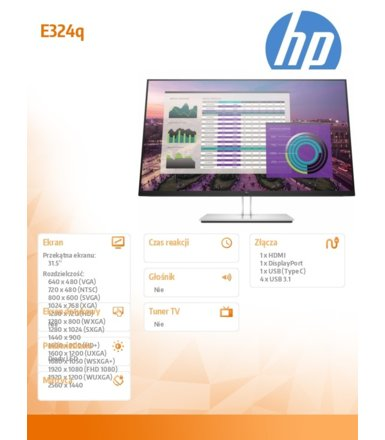 HP Inc. Monitor EliteDisplay E324q Monitor 31.5 cala