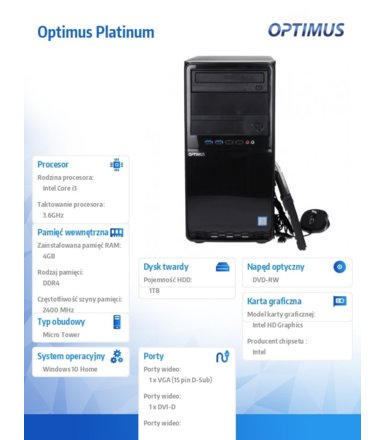OPTIMUS Platinum GH310T i3-8100/4GB/1TB/DVD/W10