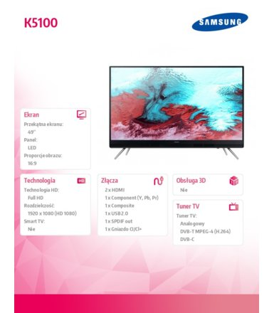 Samsung 49'' TV FHD LED  UE49K5100