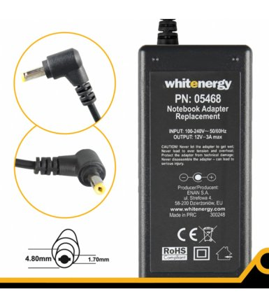 Whitenergy Zasilacz 12V | 3A 36W wtyk 4.8x1.7 mm Asus Eee PC 05468