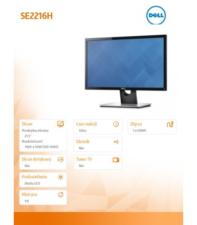 Dell 21.5'' LED SE2216H 16:9/1920x1080/HDMI/VGA/3YPPG