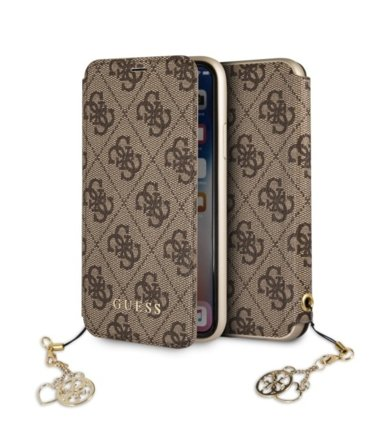 GUESS Etui book GUFLBKPXGF4GBR book iPhone X brązowy 4G Charms Collection