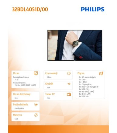 Philips Monitor 32BDL4051D 32 cale IPS Public Display 24/7 Android