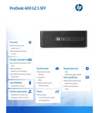 HP 400 G2.5 SFF i3-4170 W7/10 500/4GB/DVR  M3X16EA