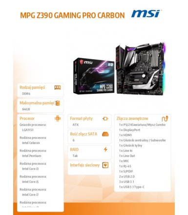 MSI Płyta główna MPG Z390 GAMING PRO CARBON s1151 4DDR4 HDMI/DP/USB 3.1 ATX