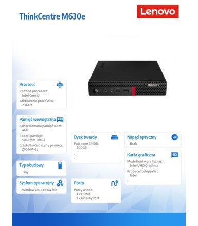Lenovo Desktop ThinkCentre M630e Tiny 10YM000APB W10Pro i3-8145U/4GB/500GB/INT/3YRS OS