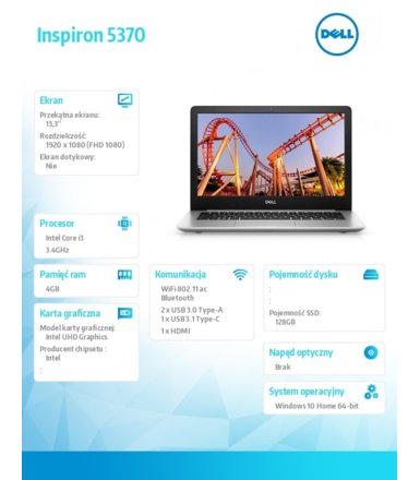 Dell !Inspiron 5370 W10Home i3-8130U/128/4/INT/Black