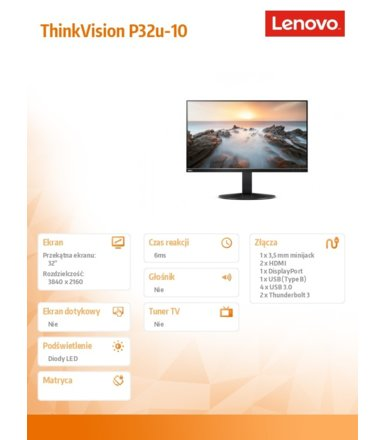 Lenovo Monitor 32 ThinkVision P32u-10 WLED Backlit LCD 61C1RAT2EU