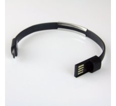 Global Technology Kabel USB/microUSB bransoletka, czarny