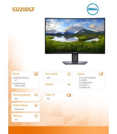 "Dell Monitor S3220DGF 31,5"" Curved  VA QHD (2560x1440)/16;9/HDMI/DP/3Y AEG"