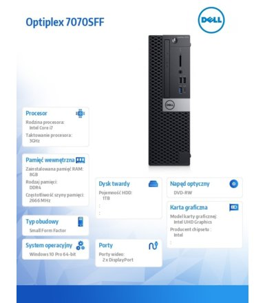 Dell Komputer Optiplex 7070 SFF W10Pro i7-9700/8GB/1TB/Intel UHD 630/DVD RW/KB216 & MS116/3Y BWOS