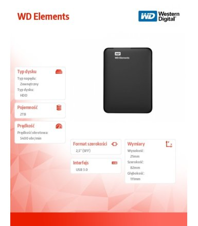 Western Digital Elements 2TB  2,5'' WDBU6Y0020BBK-WESN