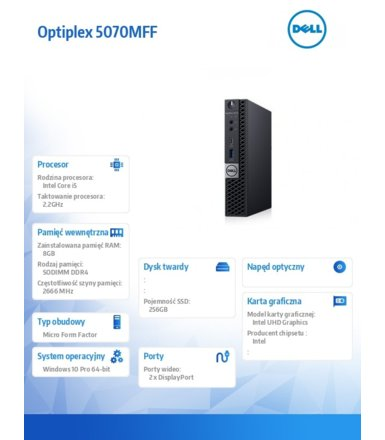 Dell Komputer Optiplex 5070 MFF W10Pro i5-9500T/8GB/256GB SSD/Intel UHD 630/WLAN + BT/KB216 & MS116/3Y BWOS