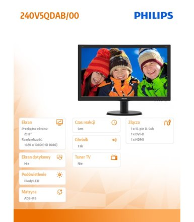 Philips 23.8'' 240V5QDAB 23.8' IPS-ADS DVI HDMI Głośniki