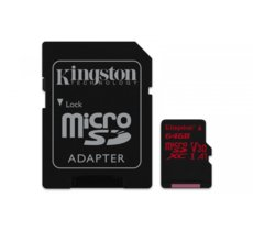 Kingston microSD  64GB Canvas React 100/80MB/s adapter U3 UHS-I V30 A1