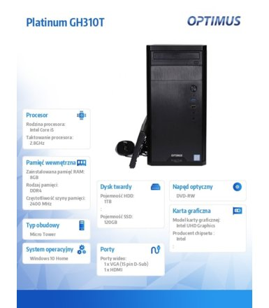 OPTIMUS Platinum GH310T i5-8400/8GB/1TB+120G/W10