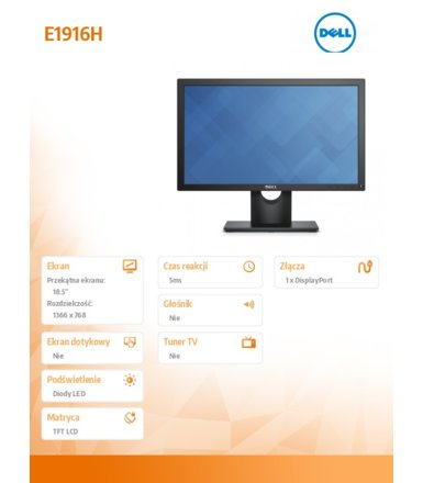 Dell Monitor 18.5 E1916H LED TN (1366x768) /16:9/VGA/DP 1.2/3Y PPG