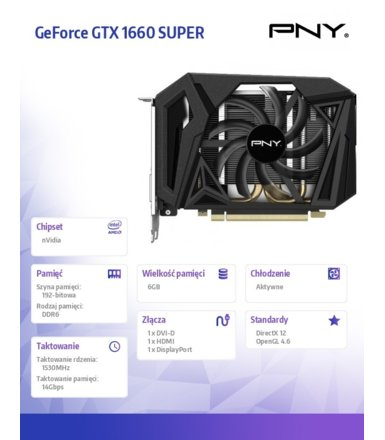 PNY Karta graficzna GeForce GTX1660 SUPER 6GB VCG16606SSFPPB